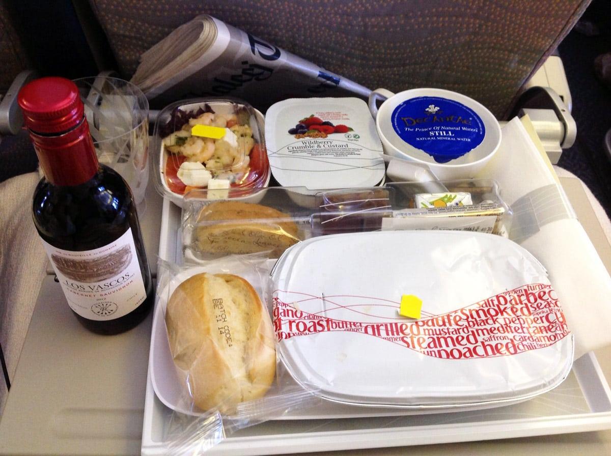 Vliegen met Emirates - Eten aan boord