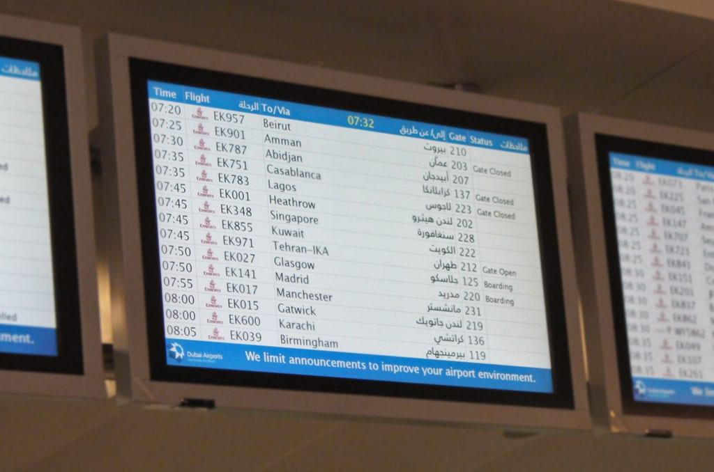 Vliegen met Emirates - Vluchtschema Emirates op Dubai Airport