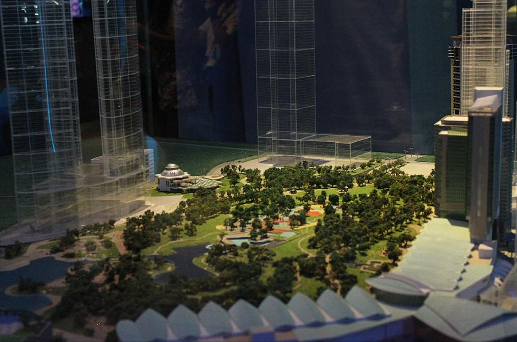 Schaalmodel van de Petronas Twin Towers en het KLCC park