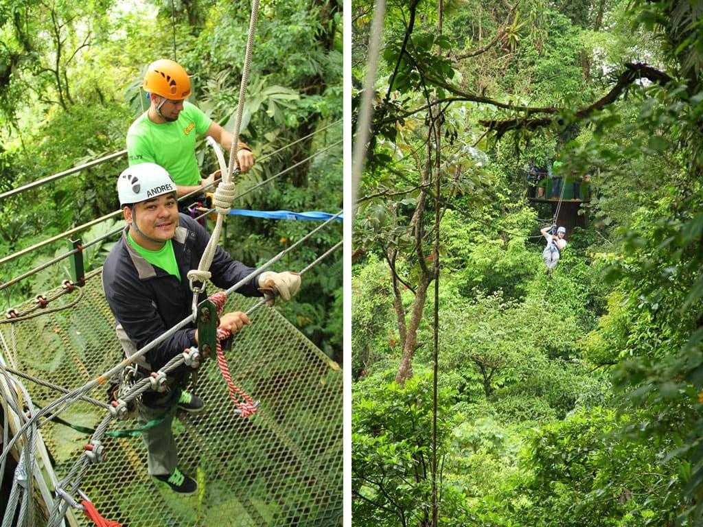 Ziplinen bij het Ecoglide Arenal park in Costa Rica