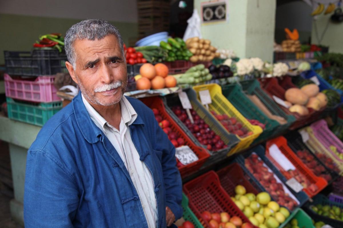 Op de fruitmarkt van Djerba, Tunesië
