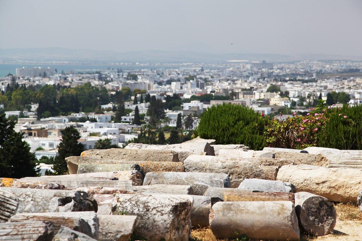 De resten van het oude Carthago in Tunesië