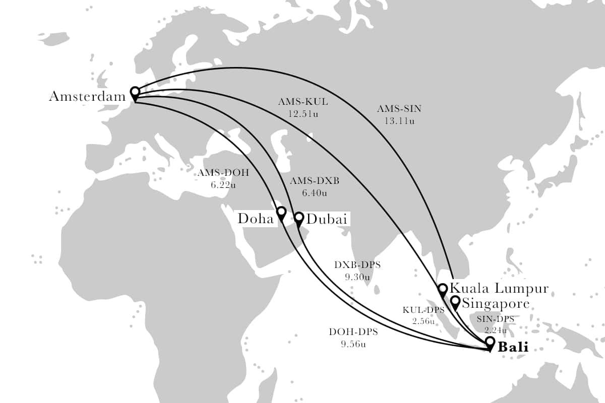 vliegroute nederland japan