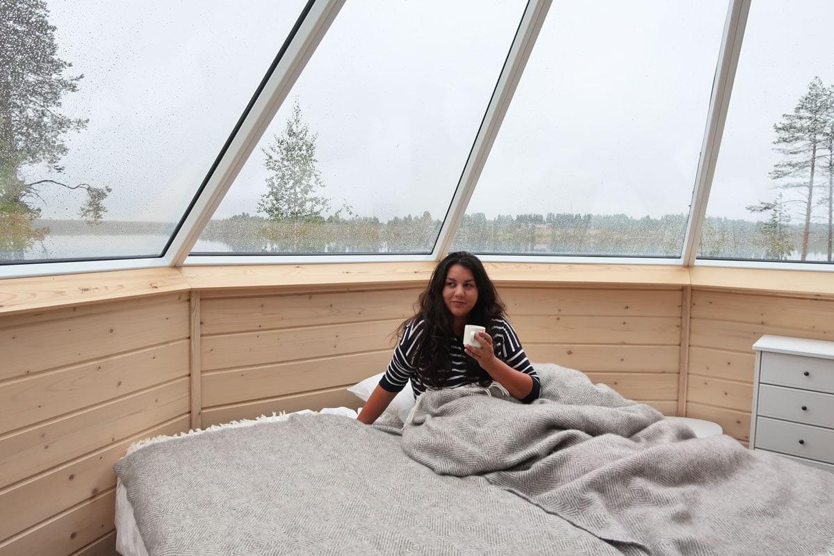 Slapen in een glazen iglo in Lapland