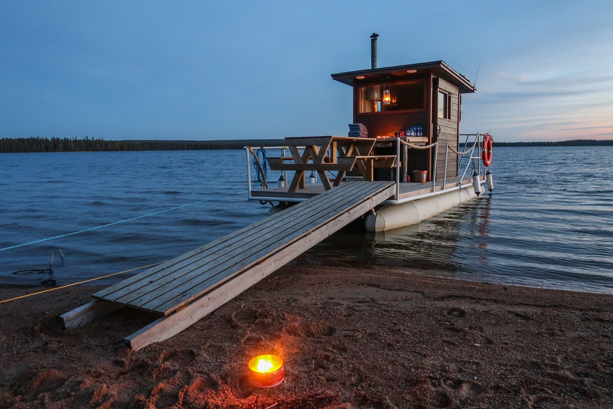 Sauna boot met wellness faciliteiten in Fins-Lapland