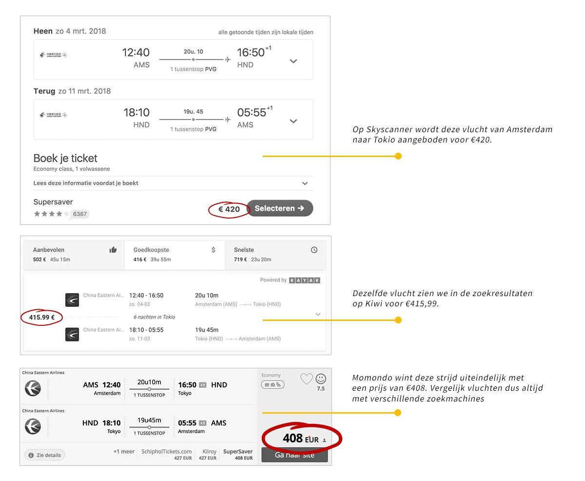 prijzen vliegtuigtickets vergelijken