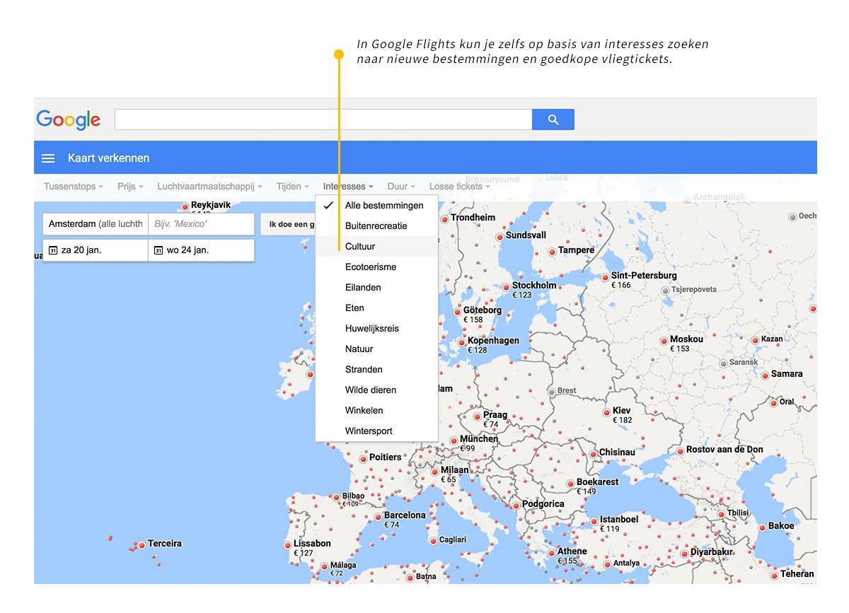 goedkope vliegtickets vinden met google flights