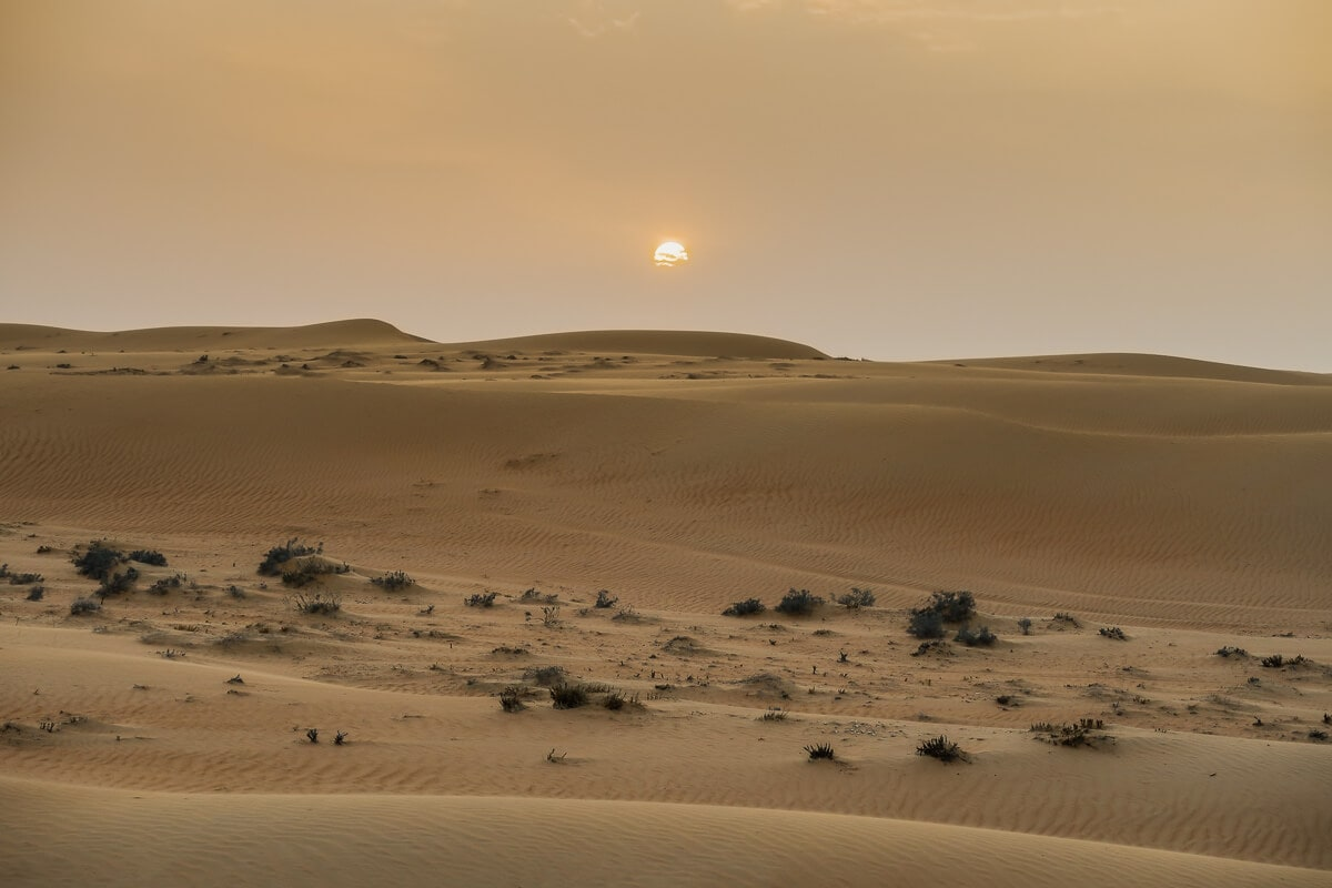 Zonsondergang in Wahiba Sands