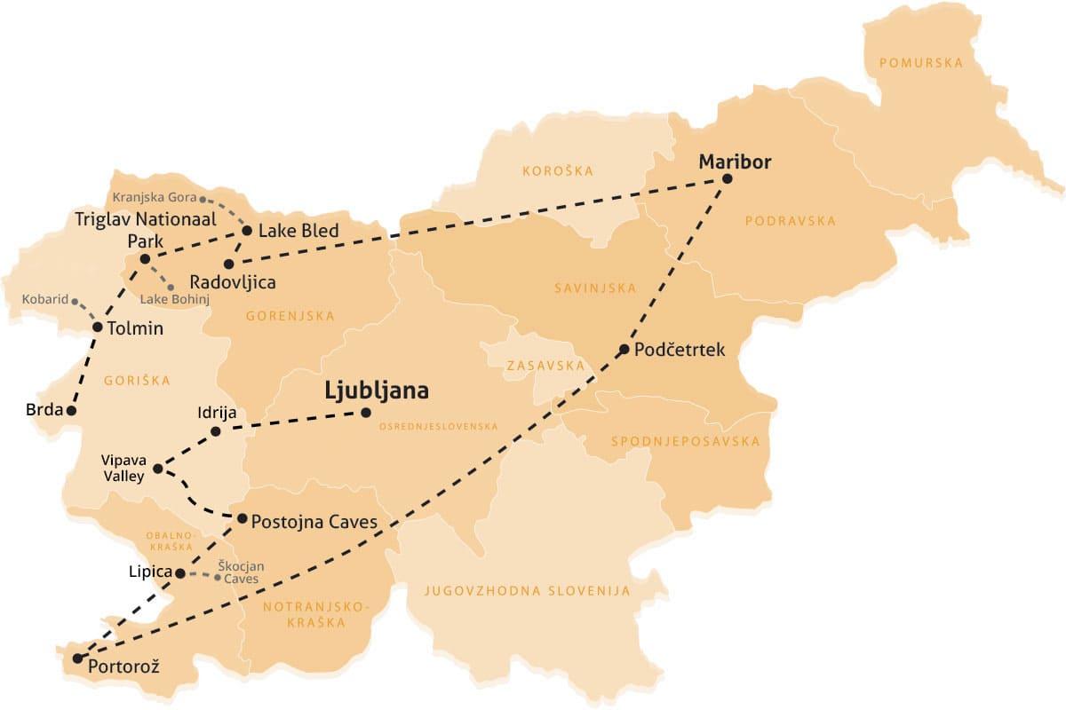 rondreis Slovenië reisroute kaart