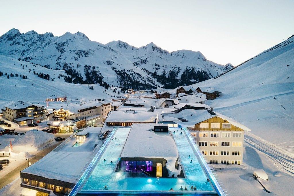 Het Mooshaus hotel met infinity zwembad Kühtai