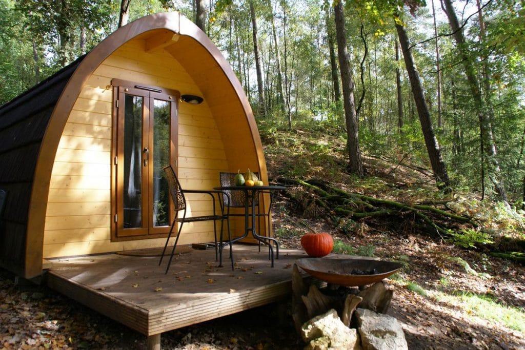 Vakantiehuisje in het bos in Nederland